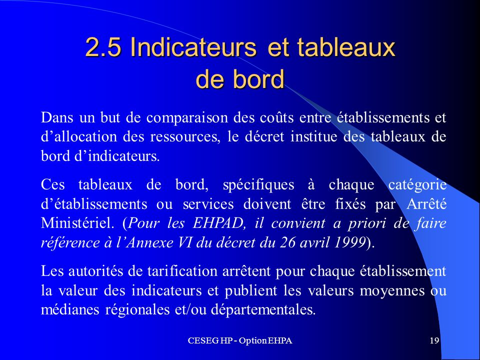 2.5 Indicateurs et tableaux de bord