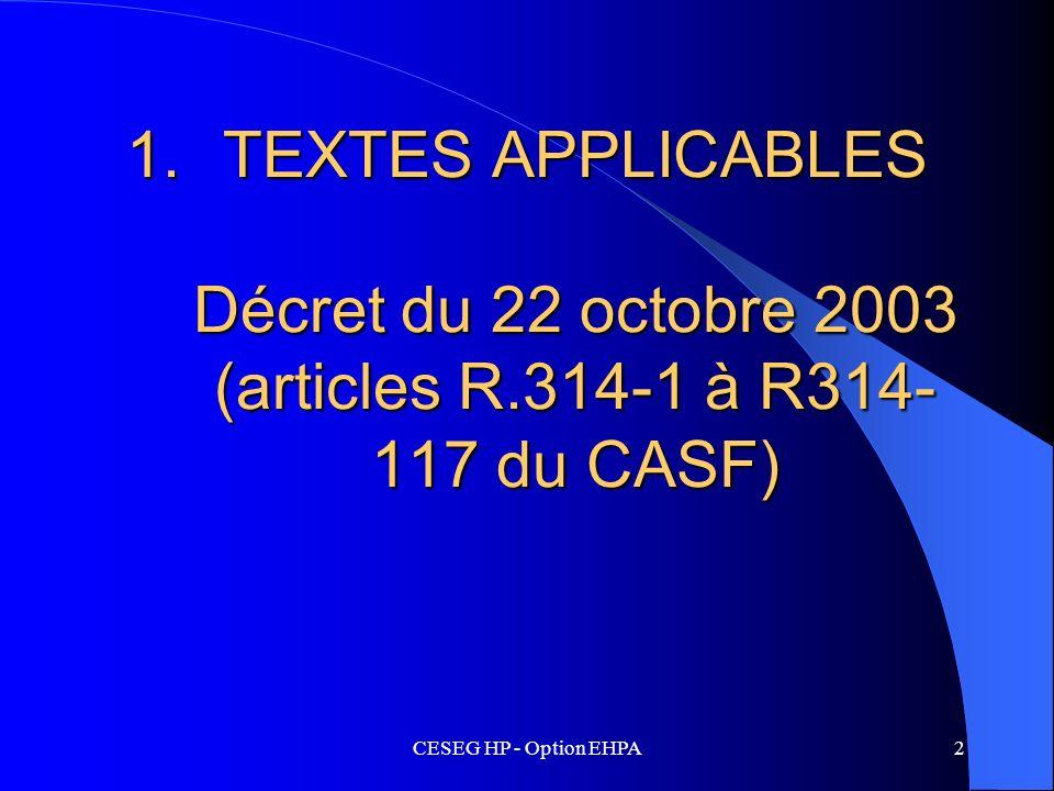 TEXTES APPLICABLES Décret du 22 octobre 2003 (articles R