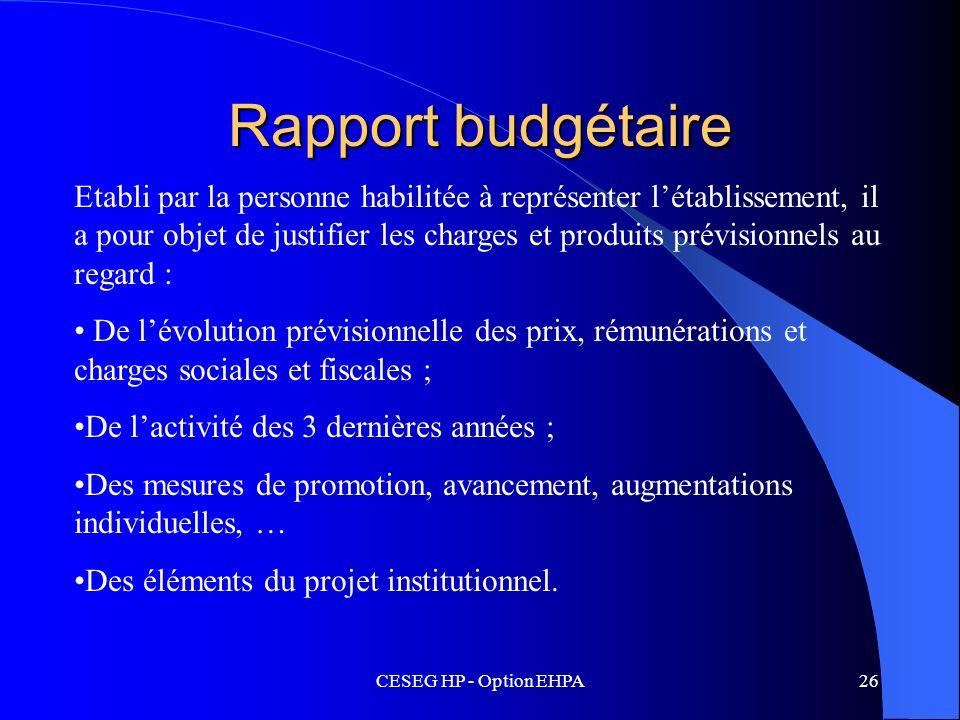 Rapport budgétaire