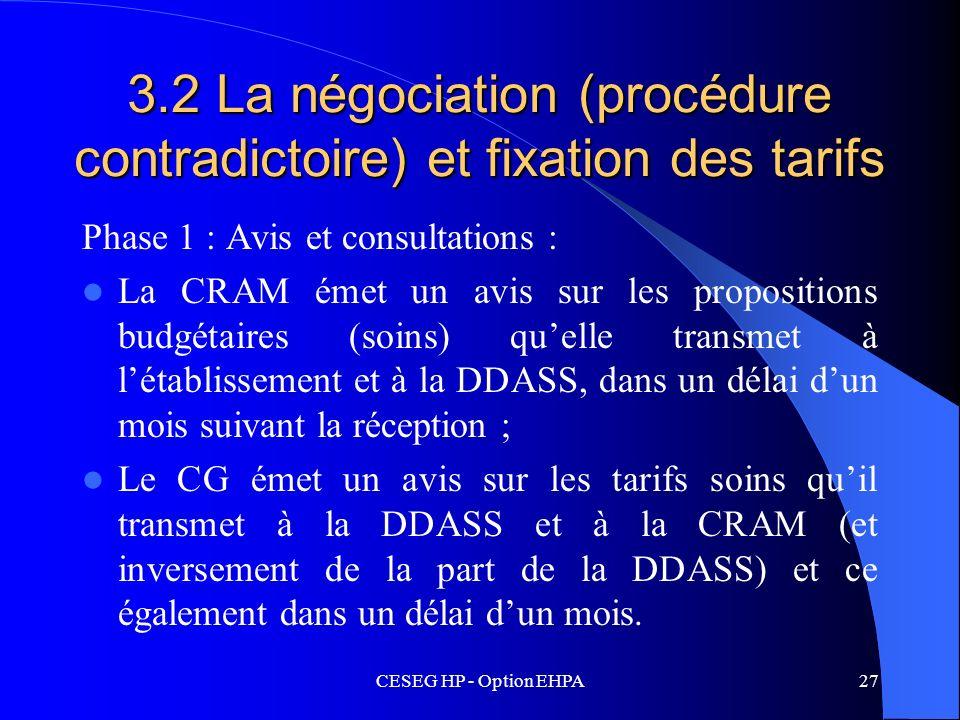 3.2 La négociation (procédure contradictoire) et fixation des tarifs