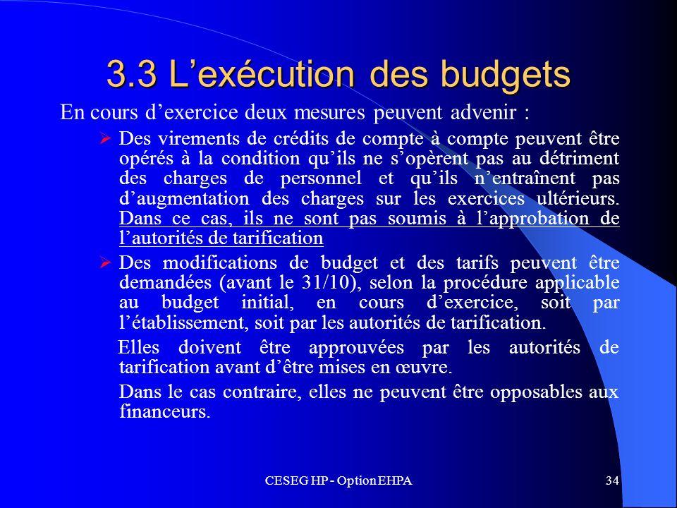 3.3 L'exécution des budgets