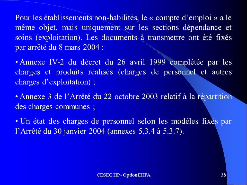 Pour les établissements non-habilités, le « compte d'emploi » a le même objet, mais uniquement sur les sections dépendance et soins (exploitation). Les documents à transmettre ont été fixés par arrêté du 8 mars 2004 :
