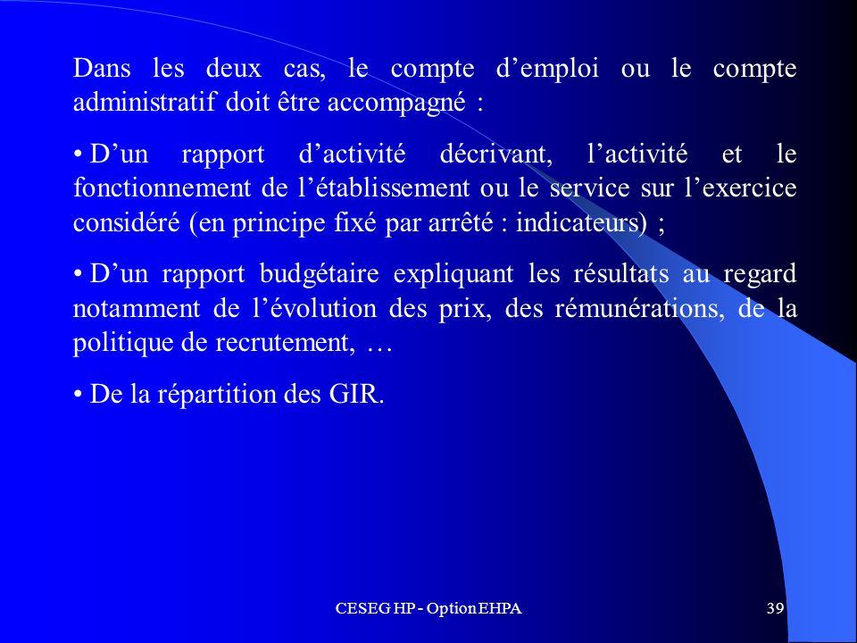 De la répartition des GIR.