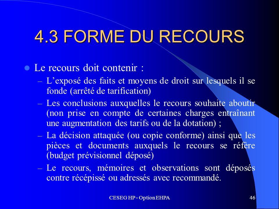 4.3 FORME DU RECOURS Le recours doit contenir :
