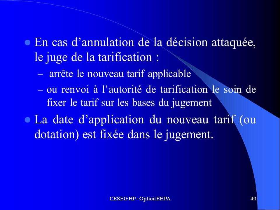 En cas d'annulation de la décision attaquée, le juge de la tarification :