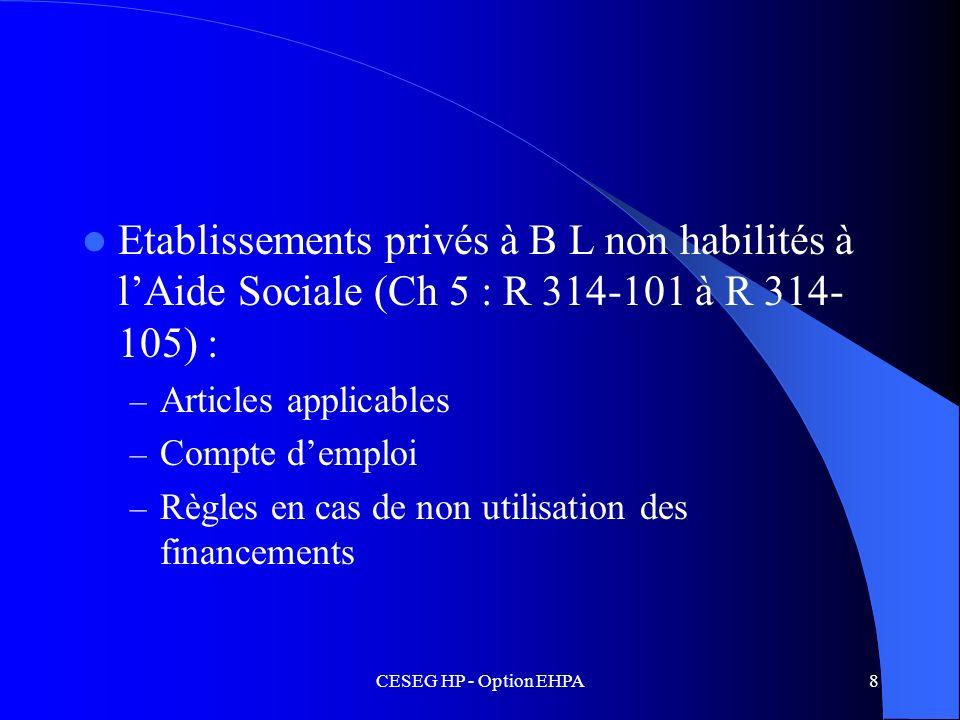 Etablissements privés à B L non habilités à l'Aide Sociale (Ch 5 : R 314-101 à R 314-105) :