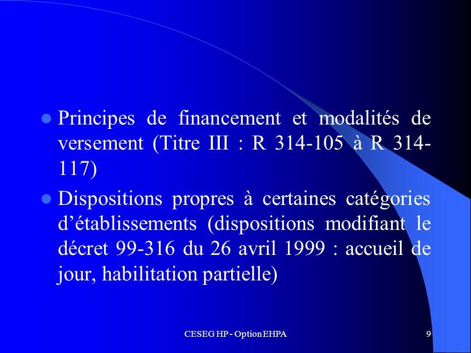 Principes de financement et modalités de versement (Titre III : R 314-105 à R 314-117)