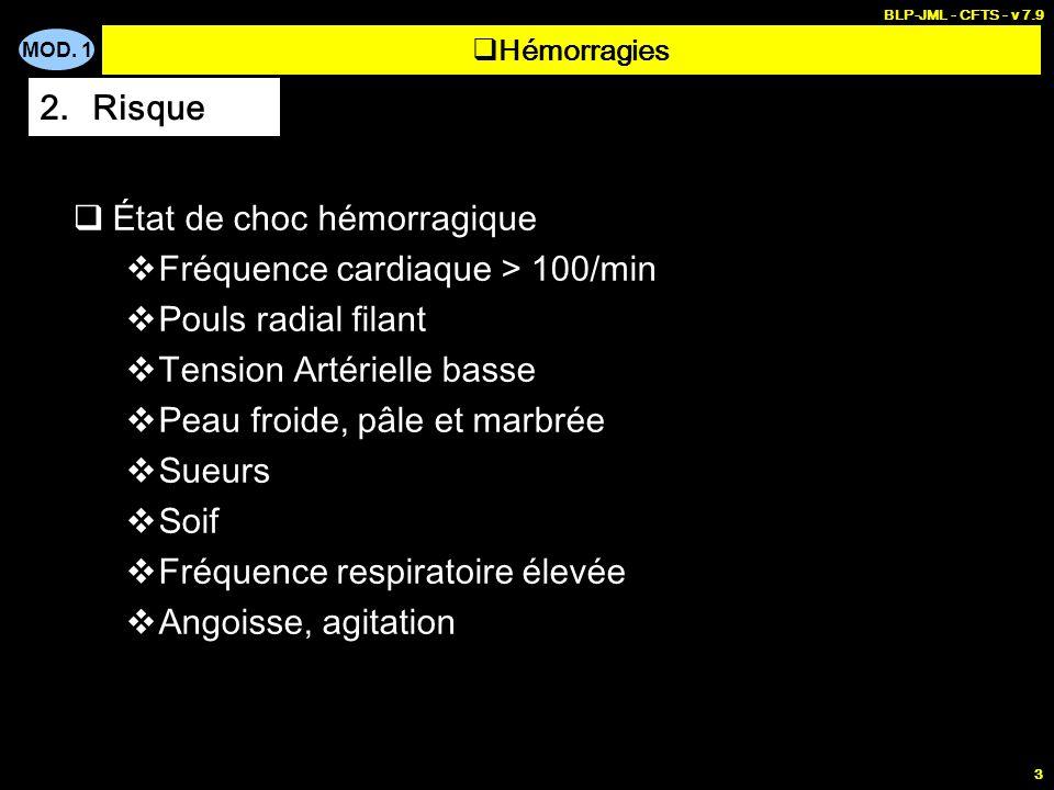 État de choc hémorragique Fréquence cardiaque > 100/min