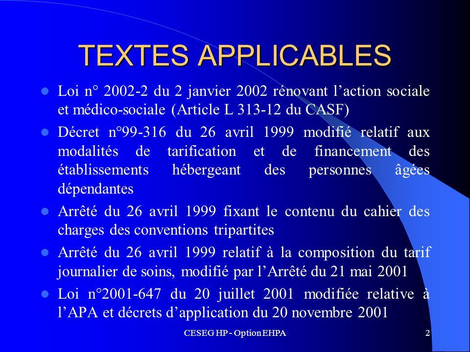 TEXTES APPLICABLES Loi n° 2002-2 du 2 janvier 2002 rénovant l'action sociale et médico-sociale (Article L 313-12 du CASF)