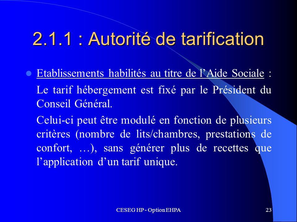 2.1.1 : Autorité de tarification