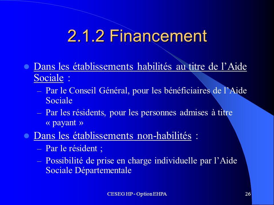 2.1.2 FinancementDans les établissements habilités au titre de l'Aide Sociale : Par le Conseil Général, pour les bénéficiaires de l'Aide Sociale.