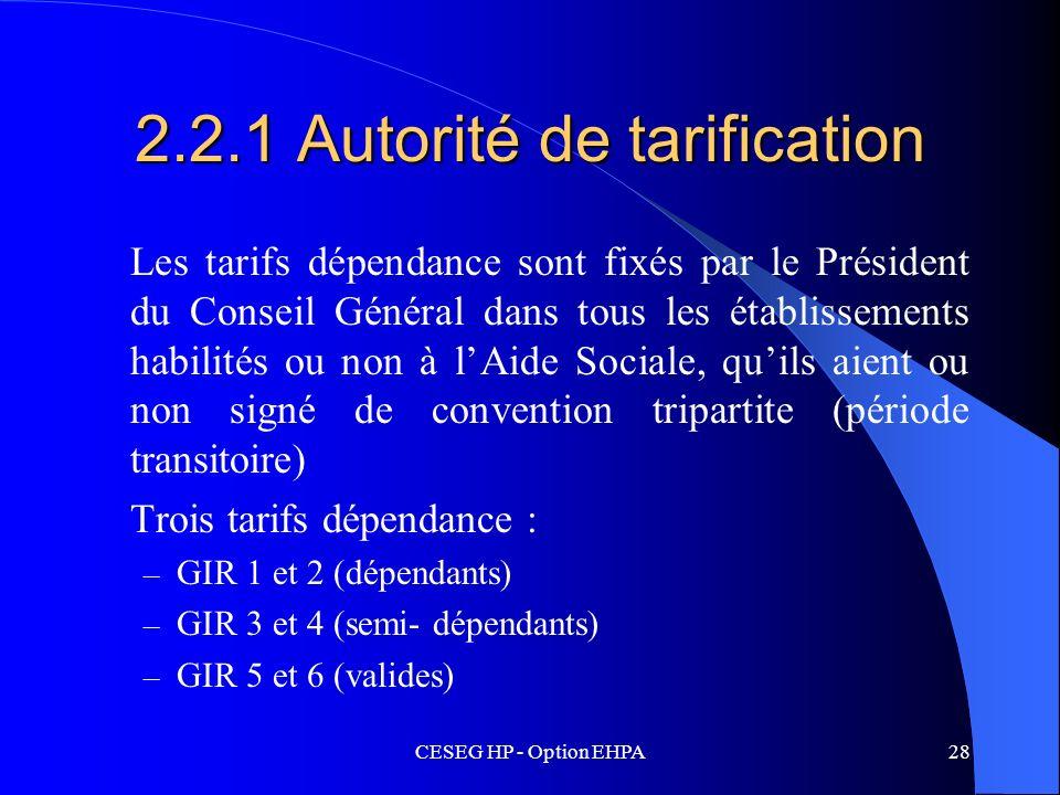 2.2.1 Autorité de tarification