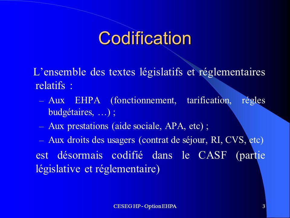 CodificationL'ensemble des textes législatifs et réglementaires relatifs : Aux EHPA (fonctionnement, tarification, régles budgétaires, …) ;