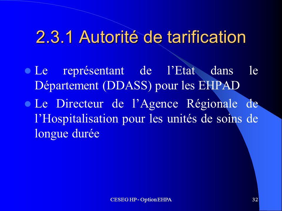 2.3.1 Autorité de tarification