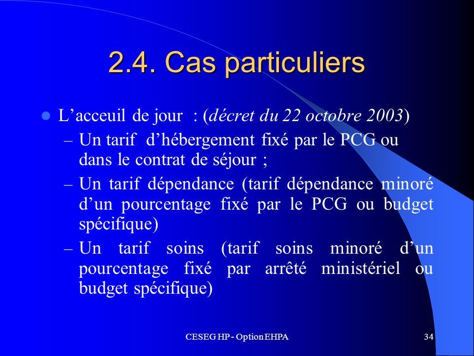 2.4. Cas particuliers L'acceuil de jour : (décret du 22 octobre 2003)
