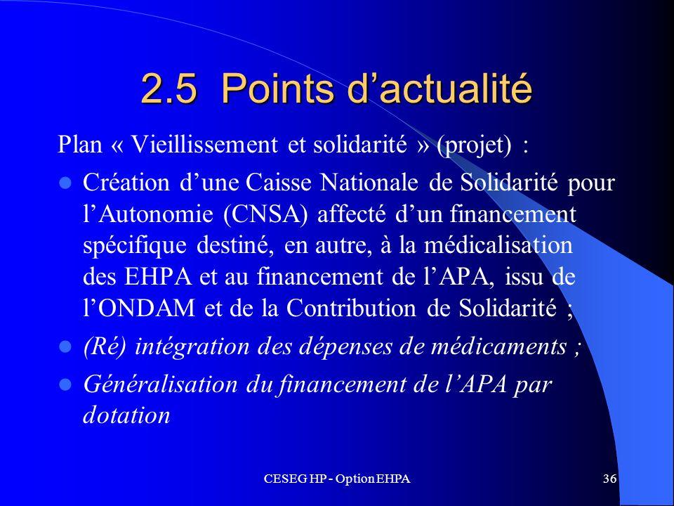 2.5 Points d'actualitéPlan « Vieillissement et solidarité » (projet) :