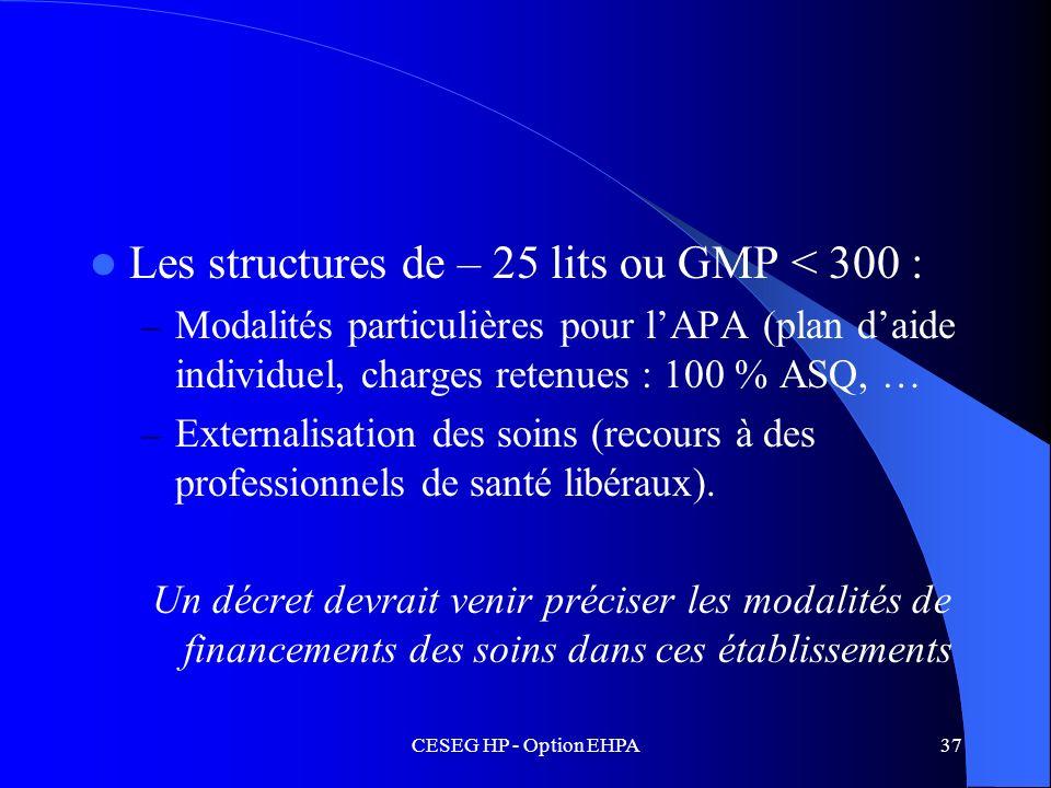 Les structures de – 25 lits ou GMP < 300 :