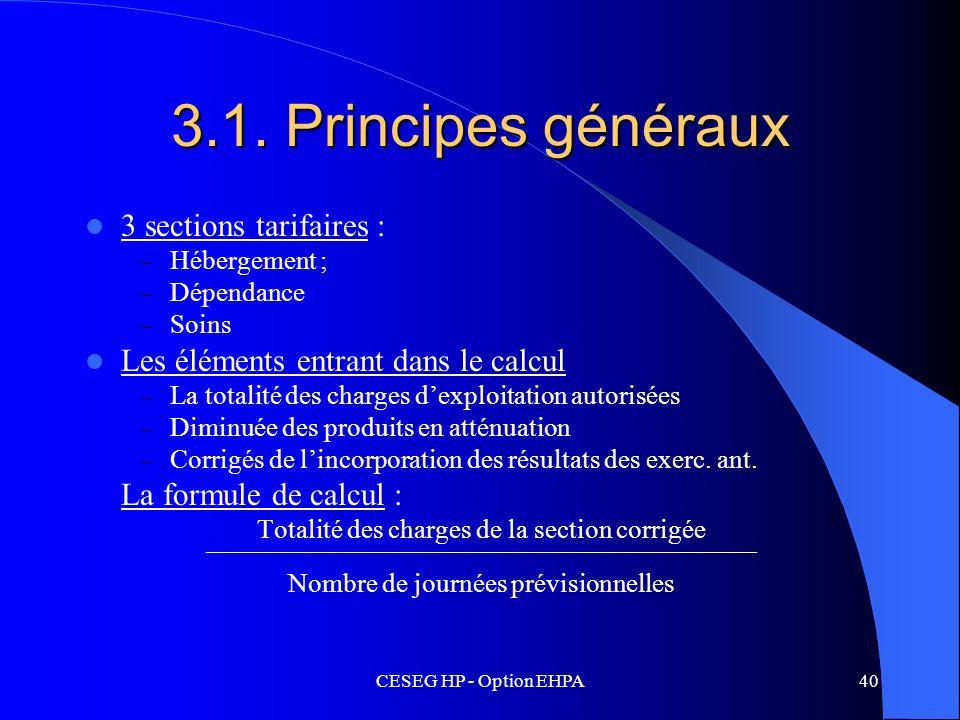 3.1. Principes généraux 3 sections tarifaires :