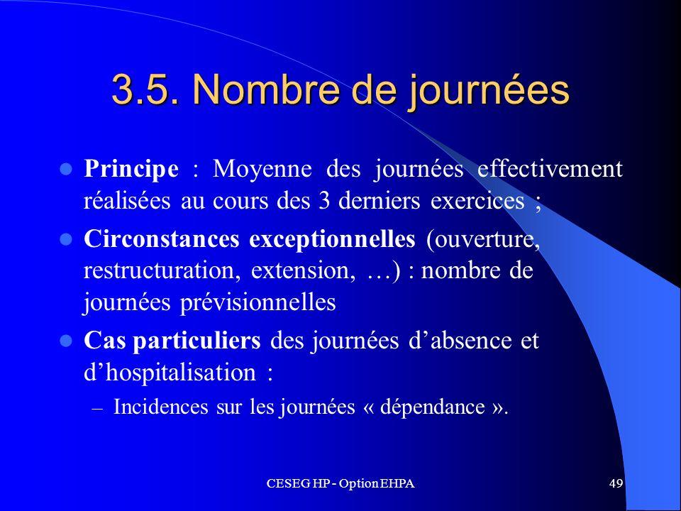 3.5. Nombre de journéesPrincipe : Moyenne des journées effectivement réalisées au cours des 3 derniers exercices ;
