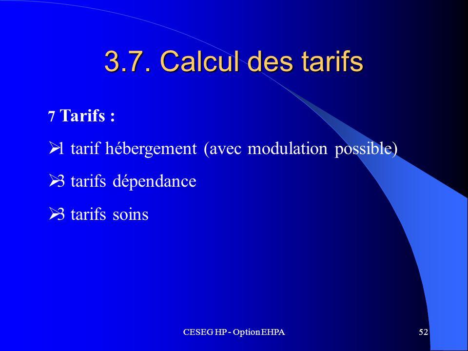 3.7. Calcul des tarifs 1 tarif hébergement (avec modulation possible)