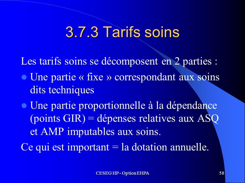3.7.3 Tarifs soins Les tarifs soins se décomposent en 2 parties :
