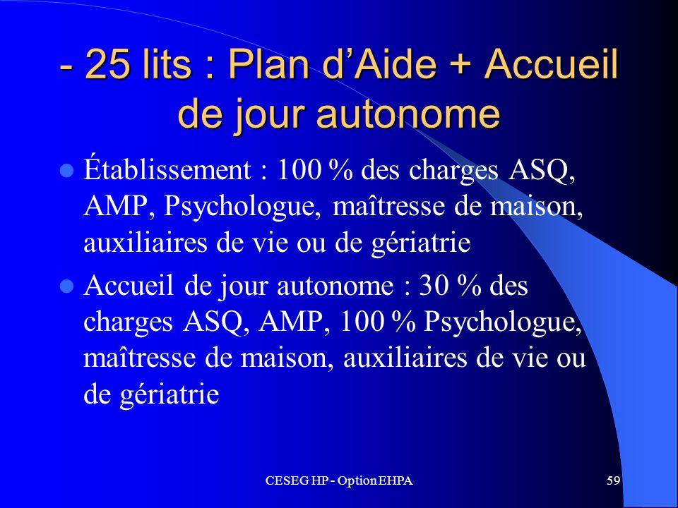 - 25 lits : Plan d'Aide + Accueil de jour autonome