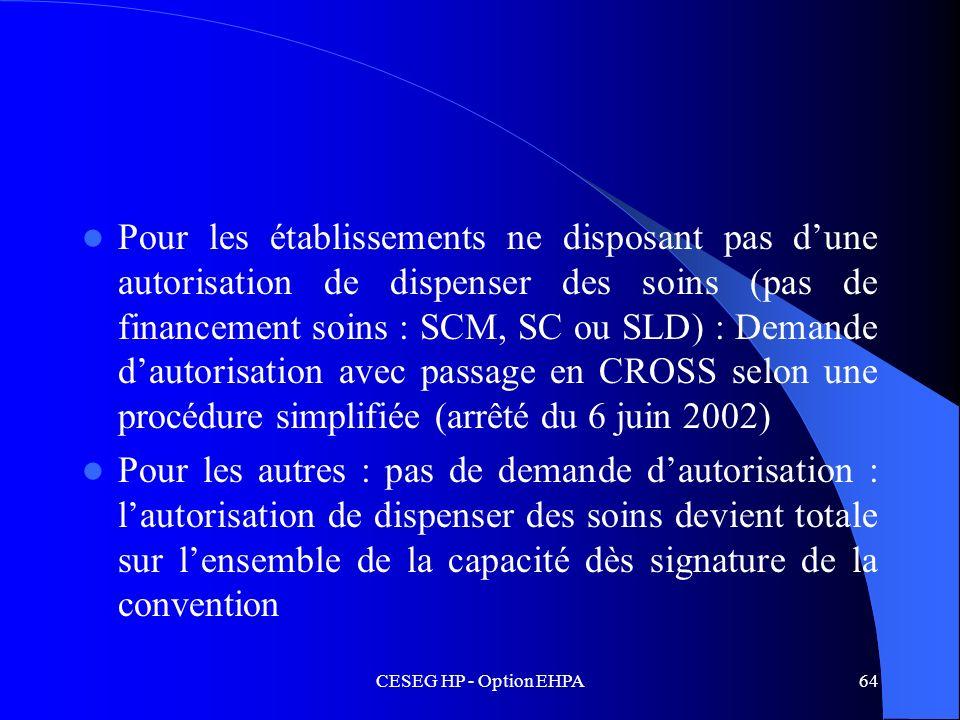 Pour les établissements ne disposant pas d'une autorisation de dispenser des soins (pas de financement soins : SCM, SC ou SLD) : Demande d'autorisation avec passage en CROSS selon une procédure simplifiée (arrêté du 6 juin 2002)