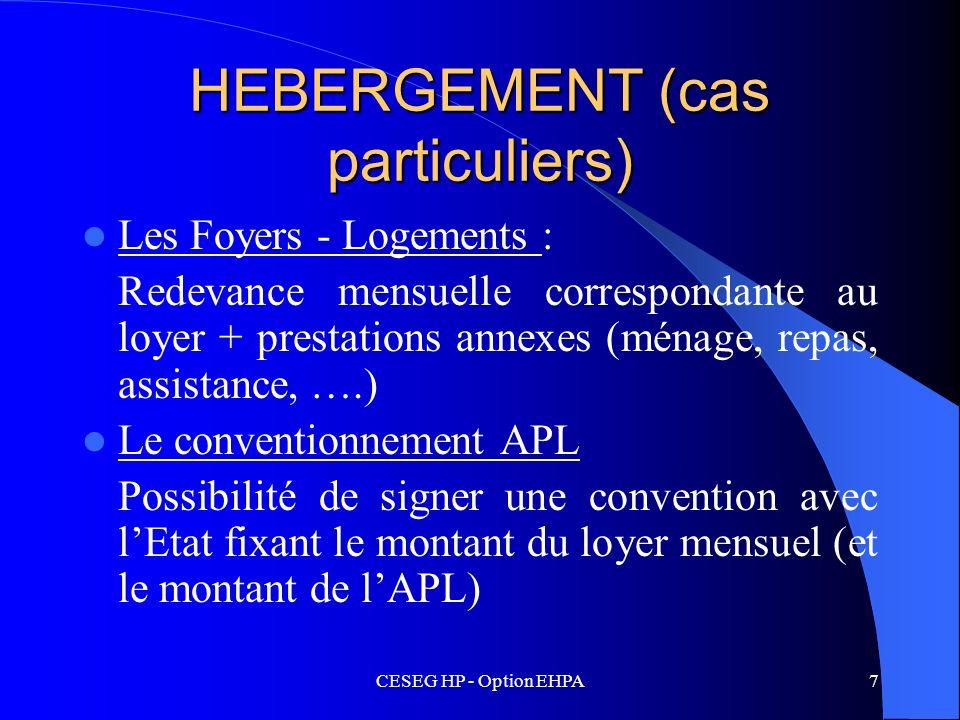 HEBERGEMENT (cas particuliers)