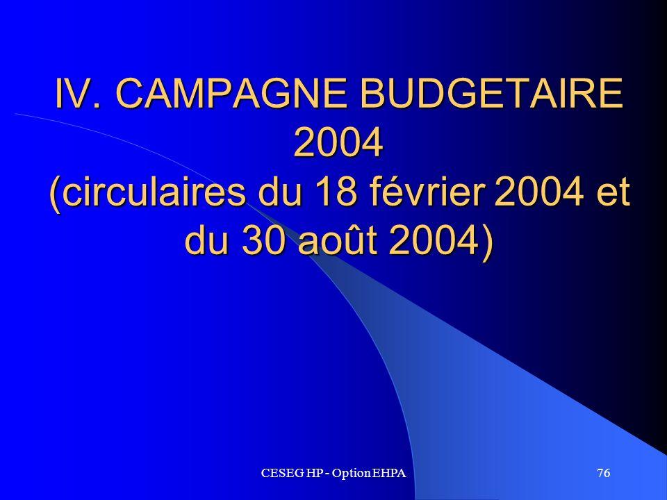 IV. CAMPAGNE BUDGETAIRE 2004 (circulaires du 18 février 2004 et du 30 août 2004)