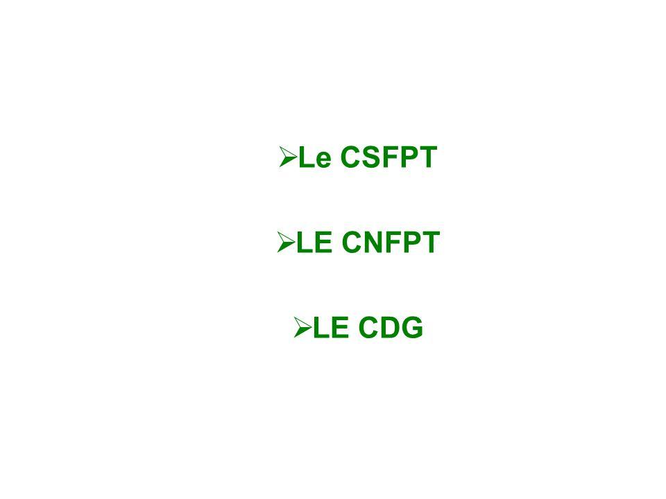 Le CSFPT LE CNFPT. LE CDG.