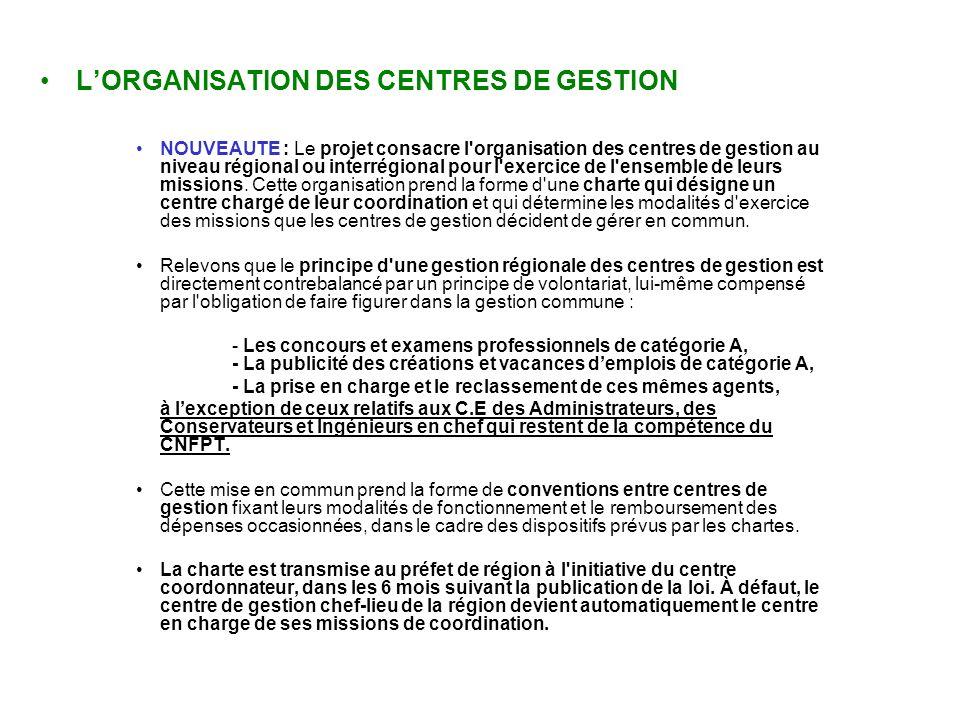 L'ORGANISATION DES CENTRES DE GESTION