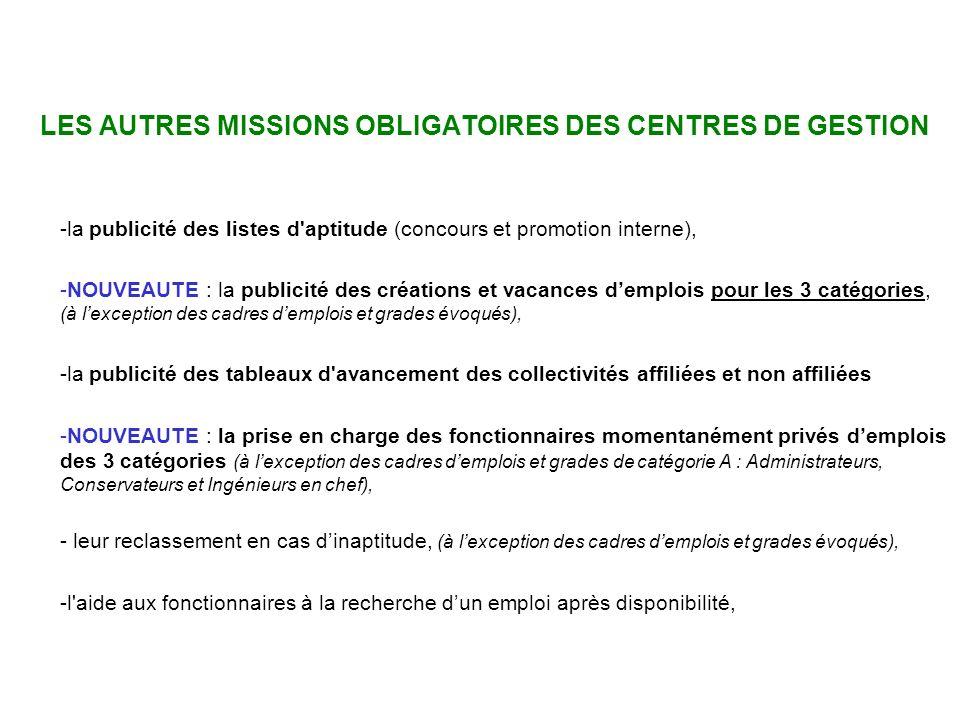 Missions des CDG LES AUTRES MISSIONS OBLIGATOIRES DES CENTRES DE GESTION. la publicité des listes d aptitude (concours et promotion interne),