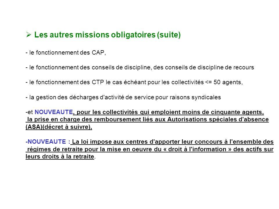 Missions des CDG Les autres missions obligatoires (suite)