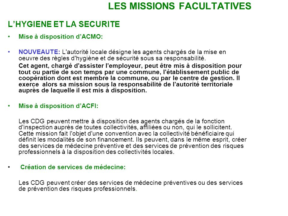 LES MISSIONS FACULTATIVES