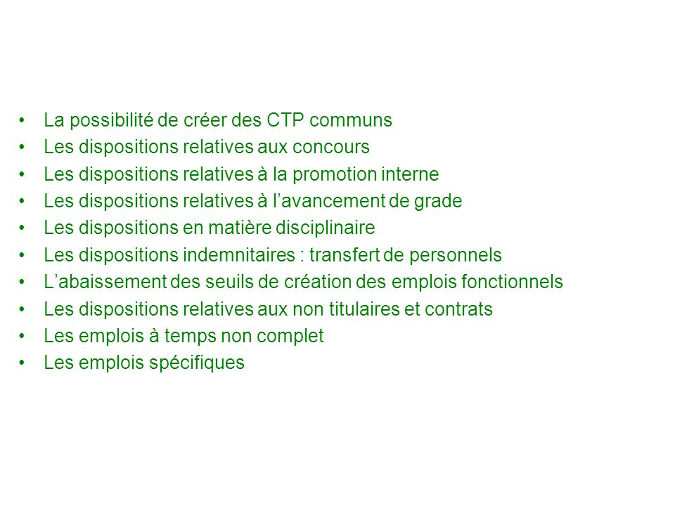 Dispositions relatives à la gestion des agents territoriaux