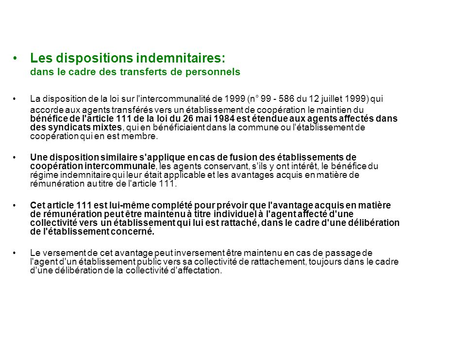 Les dispositions indemnitaires: