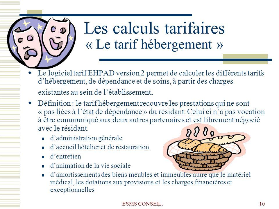 Les calculs tarifaires « Le tarif hébergement »