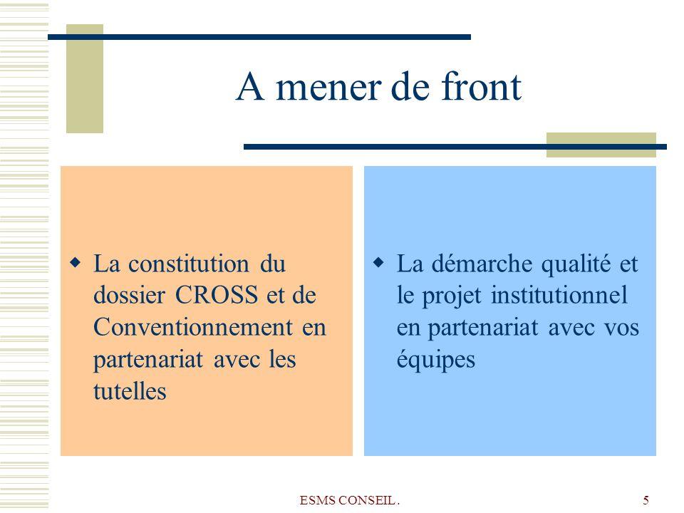 A mener de frontLa constitution du dossier CROSS et de Conventionnement en partenariat avec les tutelles.