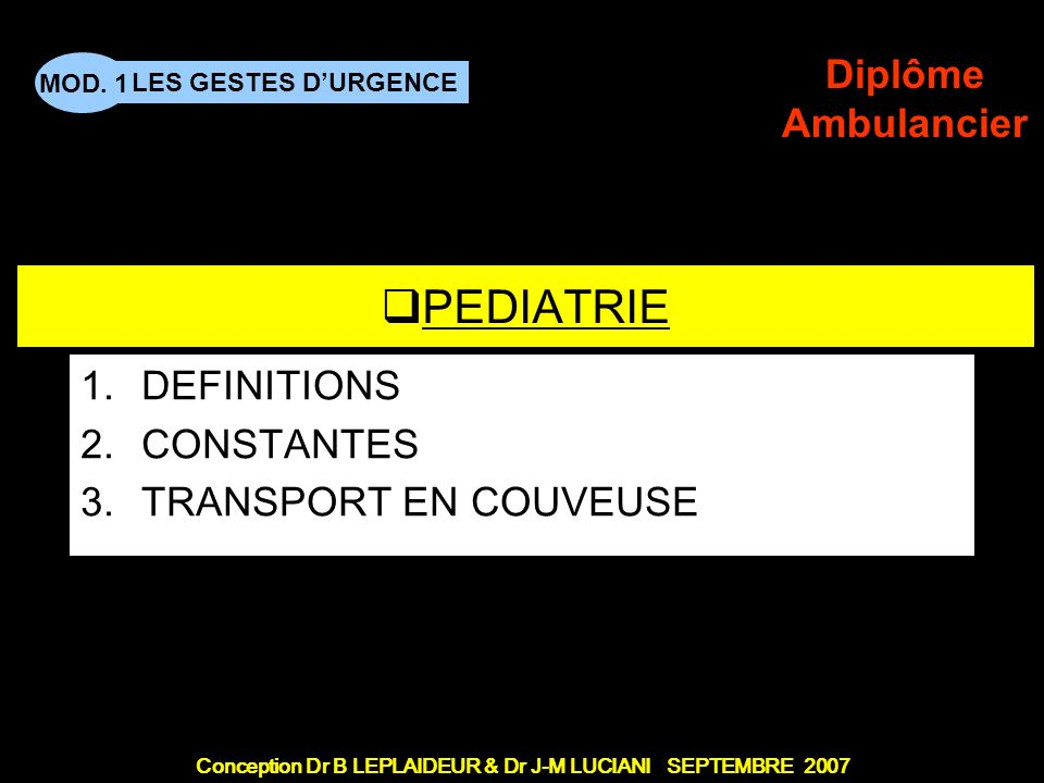 DEFINITIONS CONSTANTES TRANSPORT EN COUVEUSE