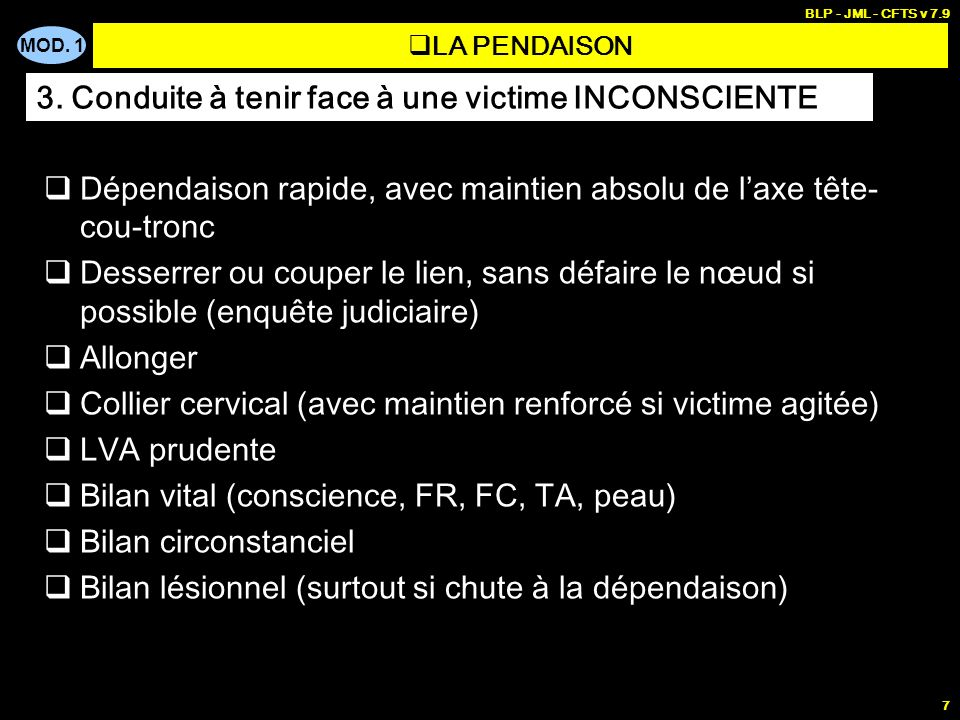 3. Conduite à tenir face à une victime INCONSCIENTE
