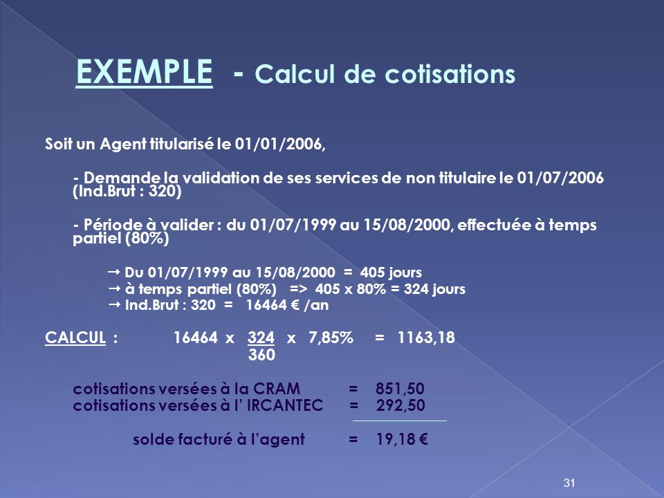 EXEMPLE - Calcul de cotisations