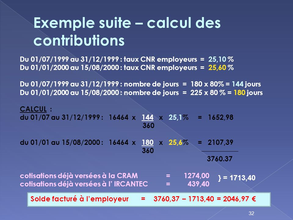Exemple suite – calcul des contributions