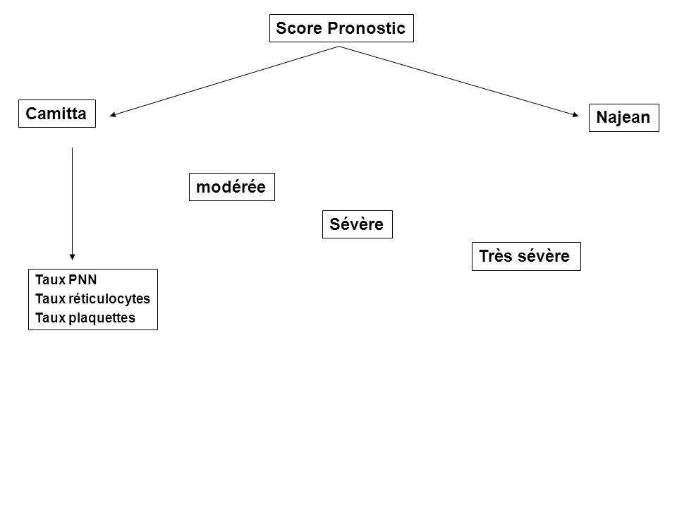 Score Pronostic Camitta Najean modérée Sévère Très sévère Taux PNN