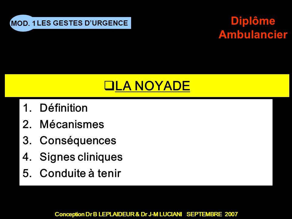 Définition Mécanismes Conséquences Signes cliniques Conduite à tenir