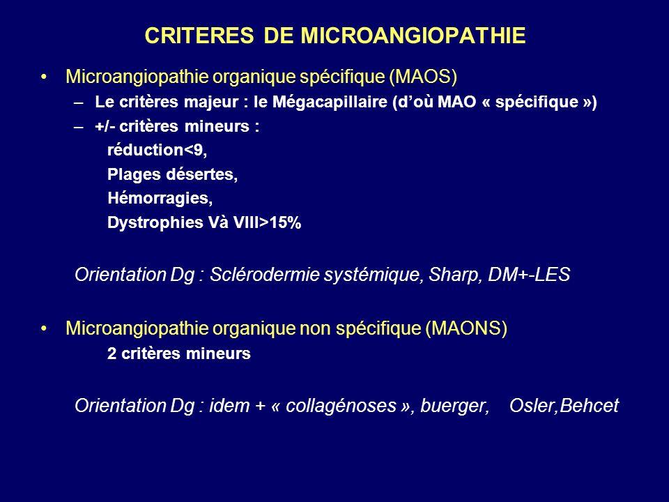 CRITERES DE MICROANGIOPATHIE