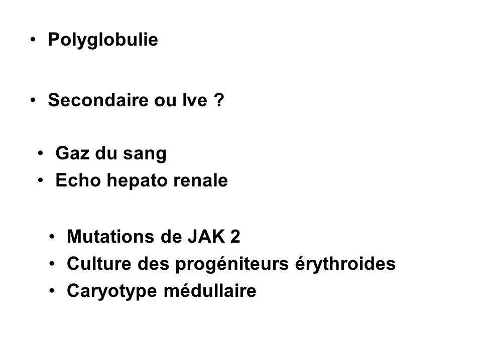Polyglobulie Secondaire ou Ive Gaz du sang. Echo hepato renale. Mutations de JAK 2. Culture des progéniteurs érythroides.
