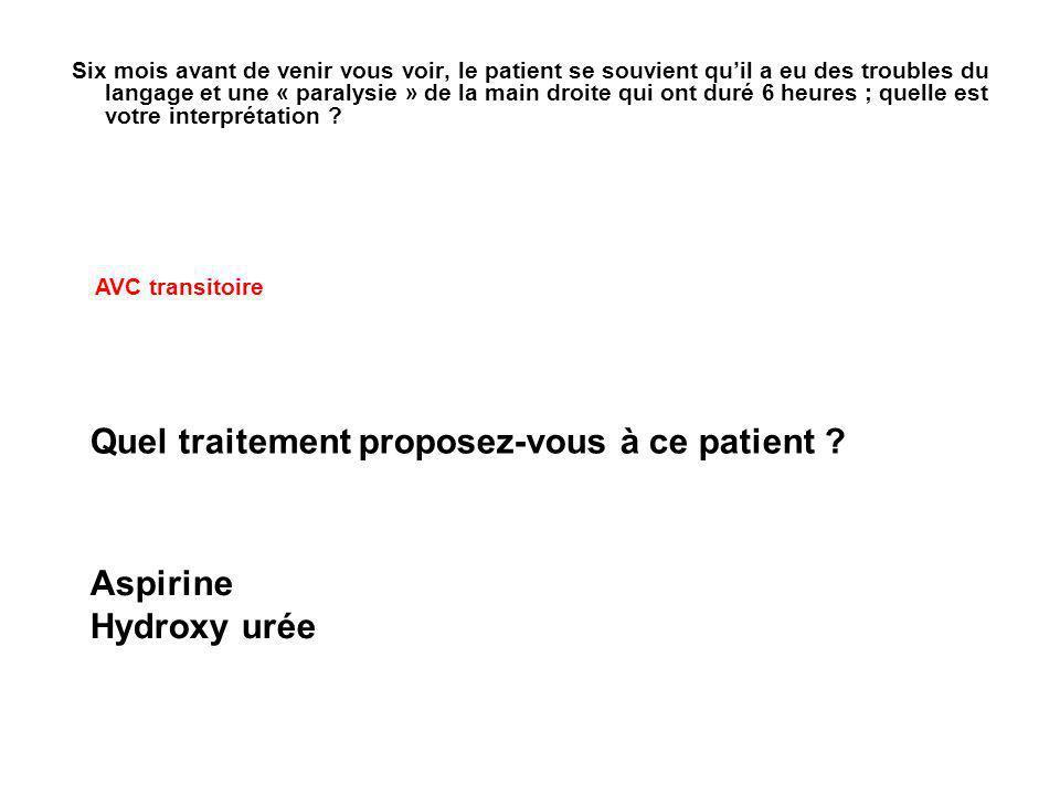 Quel traitement proposez-vous à ce patient