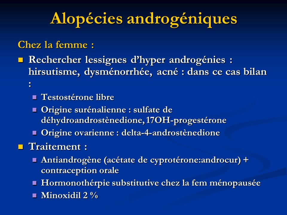 Alopécies androgéniques