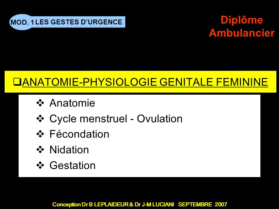 ANATOMIE-PHYSIOLOGIE GENITALE FEMININE