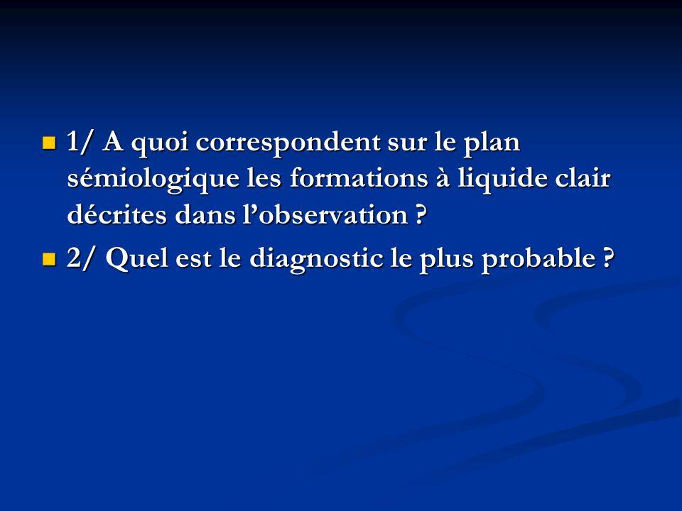 1/ A quoi correspondent sur le plan sémiologique les formations à liquide clair décrites dans l'observation